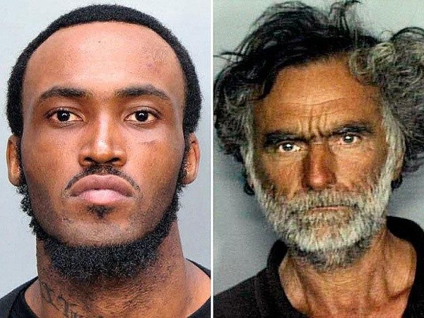 Rudy Eugene, left, was shot and killed by police as he ate the face of a homeless man, Ronald Poppo (R) (Credit: Miami-Dade Police Department)