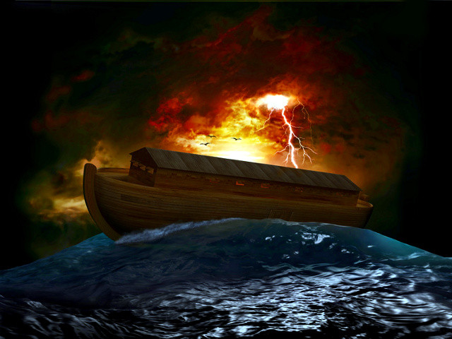 Noah's Ark riding on a swell after the Great Flood (Credit: James Steidl via Fotolia)