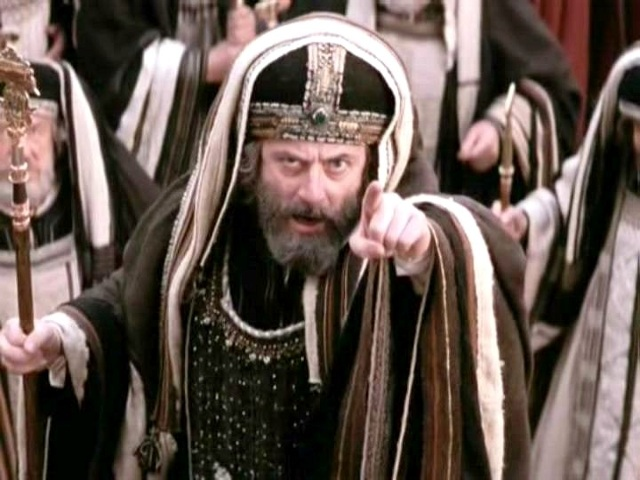 A still from the movie, The Passion of the Christ, a Mel Gibson movie, from Icon Entertainment International, showing Caiaphas, played by Mattia Sbragia, demanding before Pontius Pilate that Jesus be crucified (Credit: Icon Entertainment International)